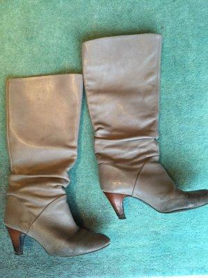 Boots / Stiefel von Zara, graues Leder, 39, Seventies-Style, 70s