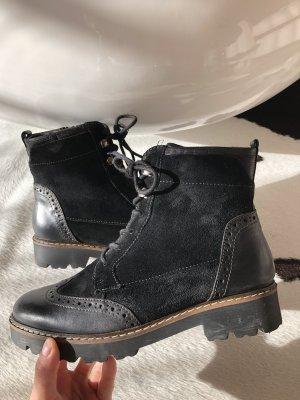 Boots Stiefel Wildleder schwarz Pier one 38 Chelsea Boots Stiefeletten Mode Fashion