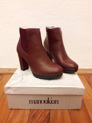 Boots Stiefeletten 37 Blockabsatz Neu Bordeaux rostrot