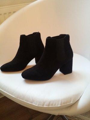 Boots Stiefeletten Absatz H&M Schwarz Velours 37