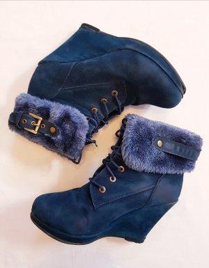 Boots Stiefeletten Blau mit Fellimitat Schnürer Gr. 38