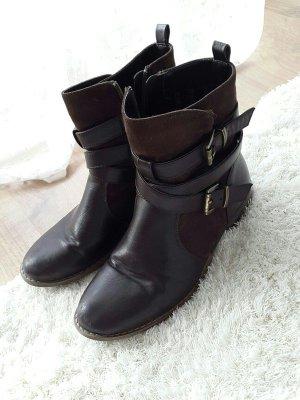 Boots / Stiefeletten braun gold mit Veloursleder