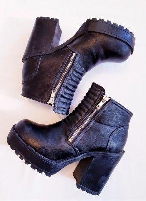 Boots Stiefeletten schwarz mit Absatz Größe 38 Reißverschluss
