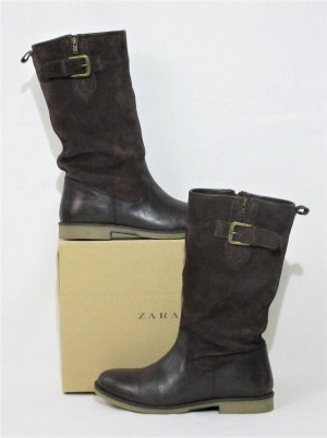 Boots-Stiefeletten / Velors-Glattleder / Braun / 100% Rindsleder / Metalldetail / HERVORAGEND!