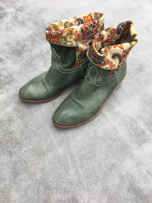 Western Booties green leather