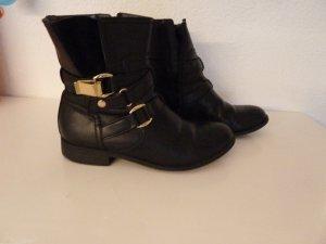 Boots Von Esprit Gr 38 Schwarz Echtleder Goldene Schnallen Stiefeletten