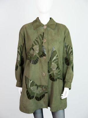 Borboleta- Grüner Ledermantel mit Schmetterling Verzierung