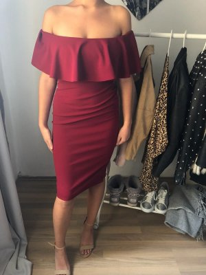 Bordeau schulterfreies Kleid