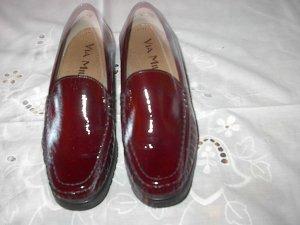 Moccasins carmine-dark red leather
