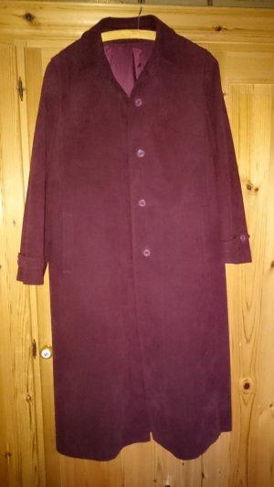 Bordeauroter Knöchellanger Mantel aus Alcatara