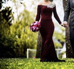 Evening Dress bordeaux-silver-colored