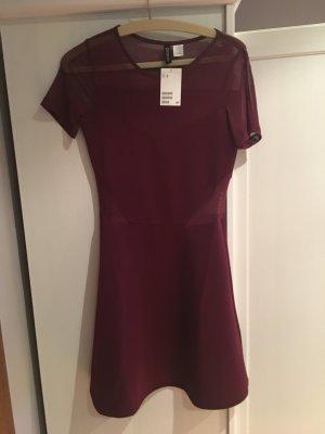 H&M Vestido cut out burdeos