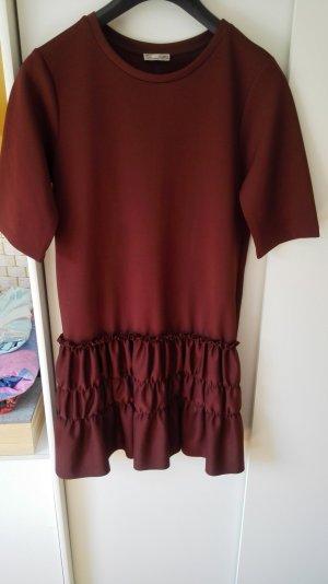 Bordeaux Dunkelrotes Kleid mit Volants Rüsschen Größe 38 M