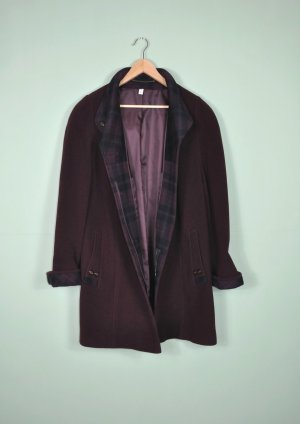Bordeaux Farbener Vintage Mantel mit Knopfleiste