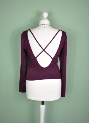 Bordeaux Farbenes Langarm Oberteil mit Rückenausschnitt