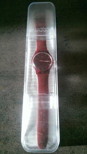 Bordeaux rote Armbandunhr von Swatch
