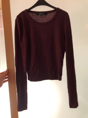 Bordeaux roter Crop Top-Longsleeve