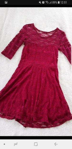 Bordeaux rotes Kleid Spitze 34
