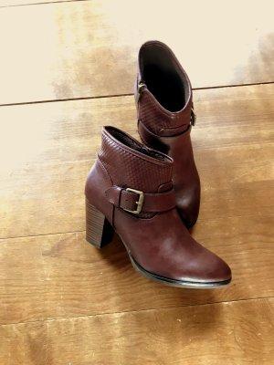 Botas de tobillo burdeos-color bronce
