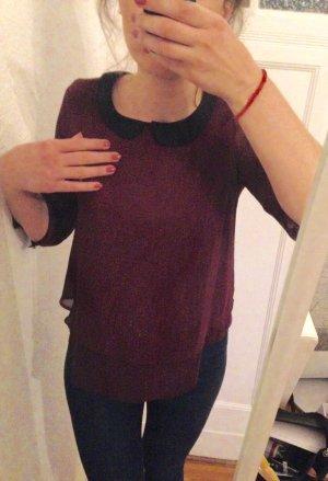 Bordeauxfarbene Bluse mit schwarzem Kragen von Bershka