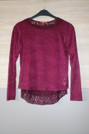 bordeauxfarbenes Langarm-Shirt mit Spitzen-Top von Esprit