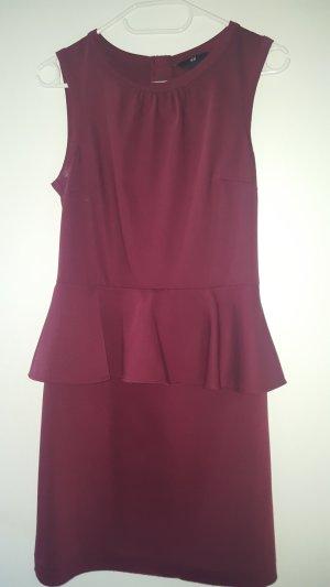 H&M Vestido peplum burdeos