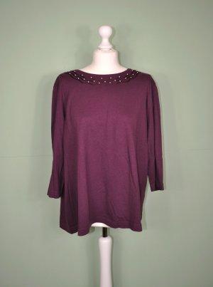 Bordeauxfarbenes Shirt mit Perlen und Stickerei