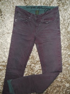 Bordeauxrot/grüne Skinny Jeans, One green elefant, Größe 34