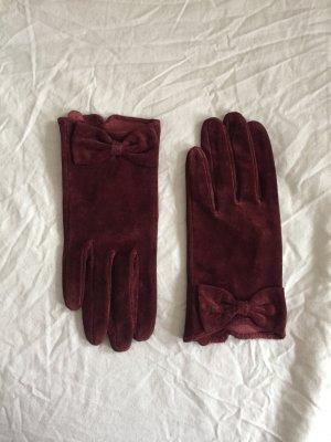 Bordeauxrote / Weinrote Handschuhe mit Schleife aus Wildleder NEU