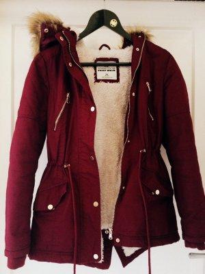 Bordeauxrote Winterjacke für Mädchen/ Damen, Gr XS