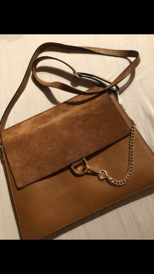 Borse in Pelle Genuine Leather Leder Tasche Umhängetasche Braun Wildleder Kette Chloe faye like