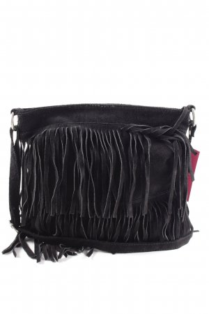 Borse in Pelle Italy Fringed Bag black casual look
