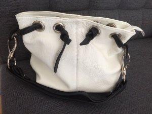 Borse in Pelle Leder Tasche schwarz weiß