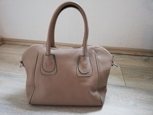 "Borse in Pelle Lederhandtasche ""made in Italy"" in taupe/beige"