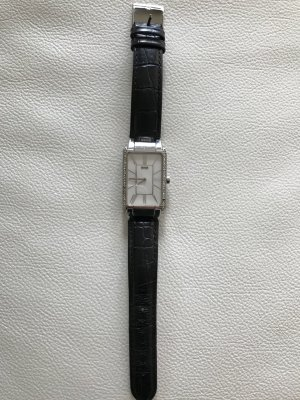 Hugo Boss Watch With Leather Strap black-silver-colored
