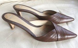 Hugo Boss Heel Pantolettes brown-dark brown leather