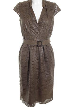Boss Hugo Boss Leren jurk donkerbruin zakelijke stijl