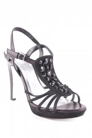 Boss Hugo Boss Strapped High-Heeled Sandals black-brown violet glittery