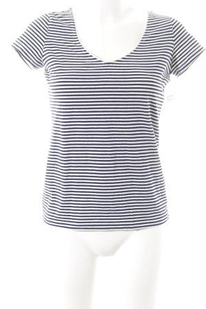 Boss Hugo Boss T-Shirt weiß-dunkelblau Streifenmuster Casual-Look