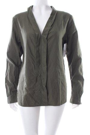 Boss Orange Langarm-Bluse olivgrün Webmuster klassischer Stil