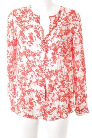 Boss Orange Langarm-Bluse weiß-hellrot florales Muster Casual-Look