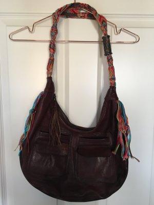 BOSS ORANGE Lederhandtasche mit ausgefallenem Flechthänkel