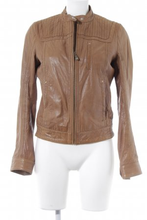 Boss Orange Lederjacke camel Biker-Look