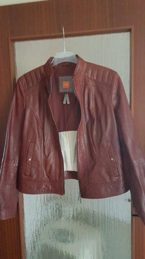 BOSS Orange Lederjacke,  dark red
