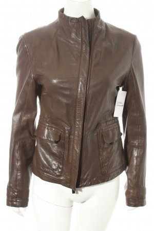 Boss Orange Lederjacke graubraun Biker-Look