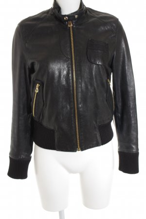 Boss Orange Lederjacke schwarz-goldfarben Biker-Look