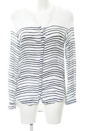 Boss Orange Long-Bluse weiß-dunkelblau Streifenmuster Transparenz-Optik