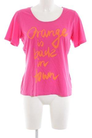 Boss Orange Print-Shirt pink-hellorange Schriftzug gedruckt Casual-Look
