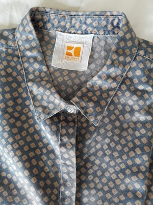 BOSS ORANGE Seiden-Bluse, Gr.36, gemustert, altrosa/graublau