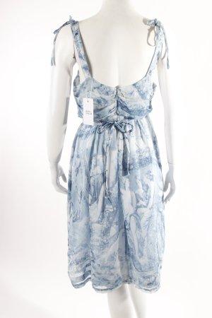 Boss Orange Seiden-Kleid gemustert hellblau-weiß